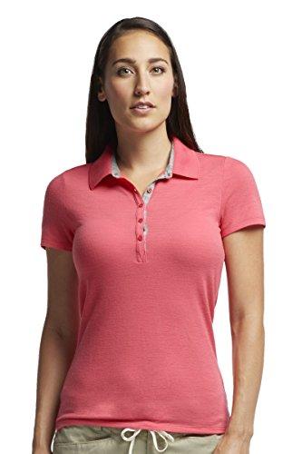 Icebreaker Damen Poloshirt Tech Lite Short Sleeve Polo, Grapefruit/Metro Hthr, XS
