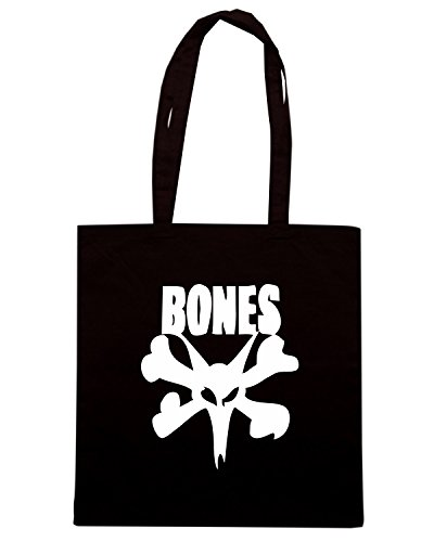 T-Shirtshock - Borsa Shopping FUN0841 bones skater skull logo sticker 42918 Nero