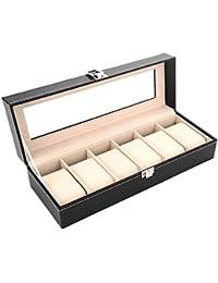 Kurtzy Wrist Watch Storage Box Display Case Organizer of Faux Leather Finish with Glass Window 6 Slot 30x8x11 CM