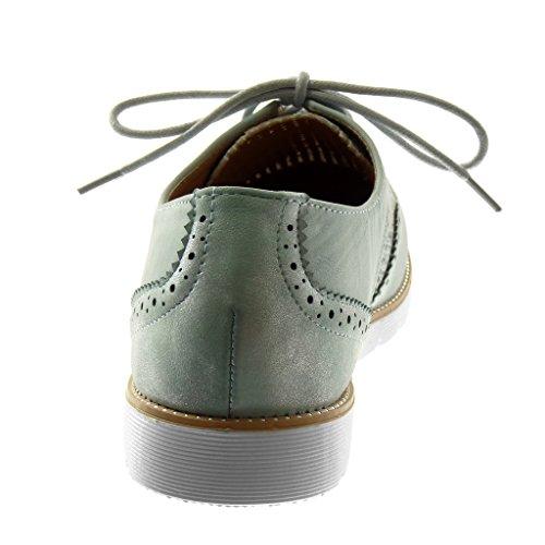 Angkorly Scarpe Moda Scarpa Derby Suola di Sneaker Donna Perforato Lucide Tacco Tacco Piatto 2.5 cm Azzurro