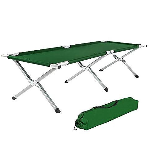 TecTake XL Alu Feldbett Campingbett belastbar bis 150 kg mit Transporttasche - diverse Farben und Mengen - (2x Grün)