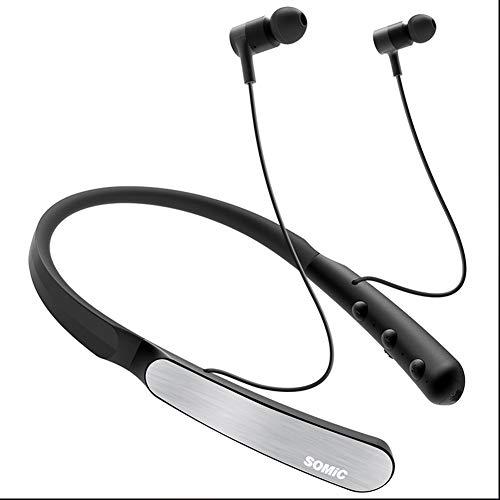 Somic Wireless Bluetooth Headset Musik Ohrhörer Hängender Nacken mit Rauschunterdrückung Tragbare Kopfhörer Geräuschunterdrückungsmikrofon für Fitness, Jogging, Sport, (E-mail-drop Sichere)
