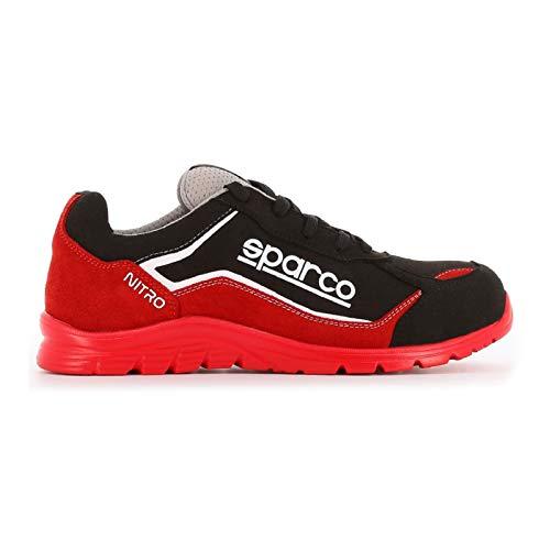 Sparco Nitro S3 SRC Scarpe Antinfortunistiche da Lavoro Nero/Rosso in Pelle Fiore Impermeabile (40 EU)
