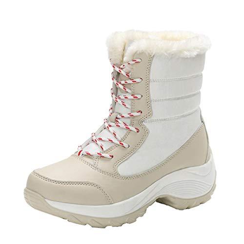 QUICKLYLY Botas De Nieve Mujer,Botines para Adulto,Zapatillas/Zapatos De Invierno Calzado Antideslizantes Impermeables para Tobillo Plataformas De Piel Gruesa(Beige,39CN)