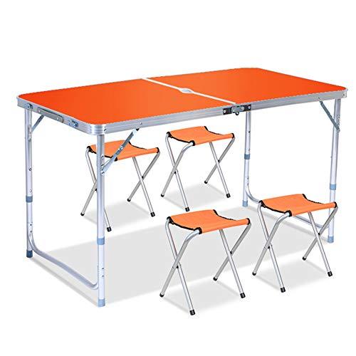 YY&L Table Pliante Réglable en Hauteur Portable 4 Chaises, Table De Propagande Fauteuil De Salle À Manger D'extérieur Jardin De Fête Au Camping, 120Cm / 4Ft,Yellow,Perforation