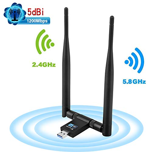 Deepow Adattatore Antenna USB WiFi 1200Mpbs USB 3.0 Chiavetta WiFi con 2 5dBi Antenne Dual Band (5.8G/867Mbps+2.4G/300Mbps), Ricevitore WiFi per PC/Laptop, e per Windows/Vista/Mac