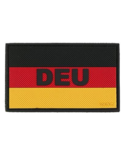 TACWRK PVC Rubber Patch Deutschland-Flagge mit Klettrückseite und erhabenem DEU-Schriftzug 80 x 50 mm