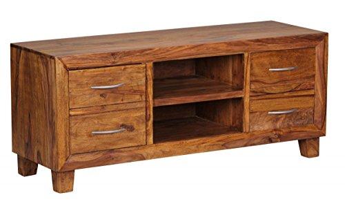 Lowboard Massivholz Sheesham Kommode 135 cm TV-Board Ablage-Fach Landhaus-Stil 4 Schubladen 2 Fächer Unikat