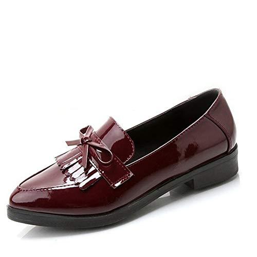 Las Mujeres De Tacones Bajos Bowtie Plataforma De Zapatos De OtoñO  Puntiagudo Casual Fringe Chunky Heel b8aed54c2c54