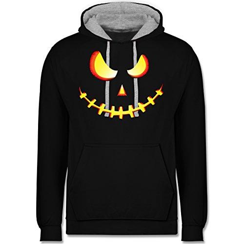 es Kürbis-Gesicht - 5XL - Schwarz/Grau meliert - JH003 - Kontrast Hoodie (Gesichter Für Halloween-kürbis)
