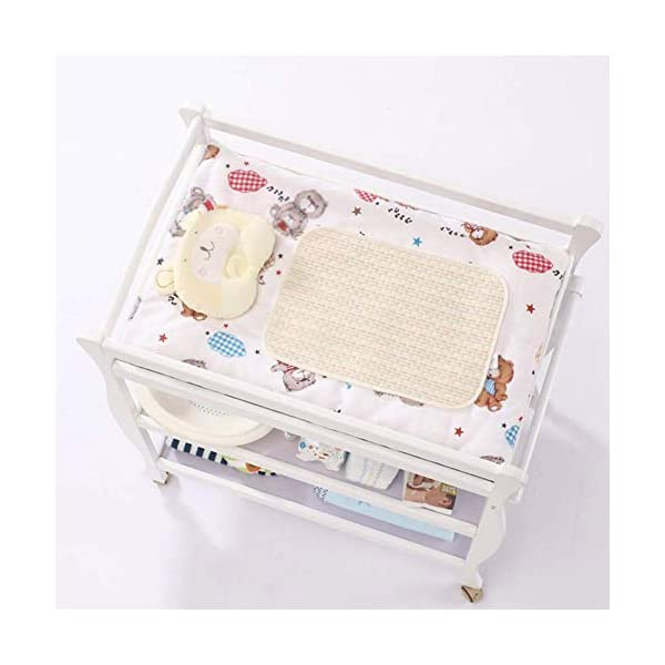Baby Changing Table White, Newborn Diaper Station Dresser with Casters & Pad, Portable Wood Nursery Organizer for Infant GUYUE Silent caster with brake. Safety rails enclose all four sides of the changing area Strong and sturdy wood construction: Pine + solid wood paint free board. 4