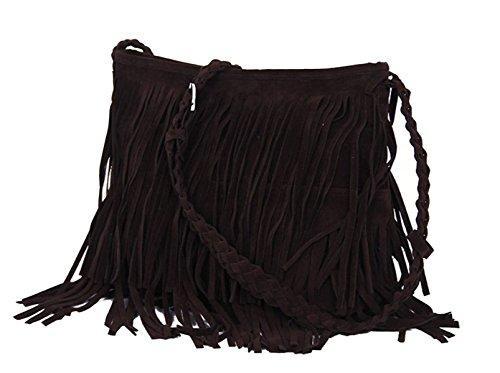 Frauen-Handtaschen-Mittel Purse Durable Leder Tasche Spitze Weaving Quaste Camel