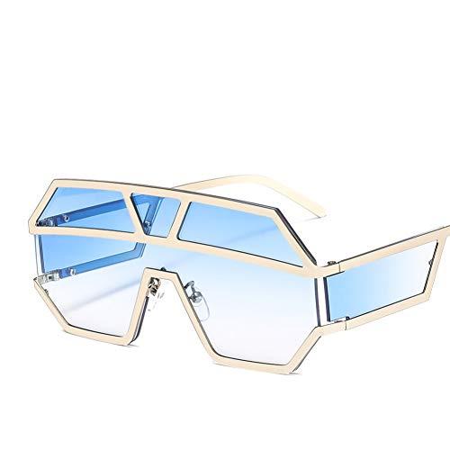 Taiyangcheng Polarisierte Sonnenbrille Mode Pilot Sonnenbrille Frauen Markendesigner Geometrische Muster Metall Unisex Übergroße Sonnenbrille Verlaufsglas Cool,Blau