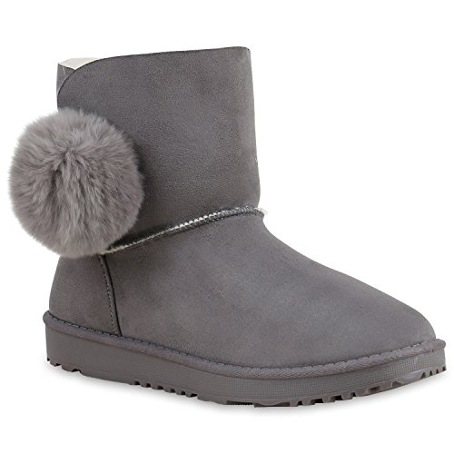 Ankle Boots Senhoras Alinhadas Quentes Brilhantes Botas Escorregar Botas Botas Bobble Cinza