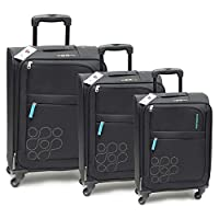 Kamiliant by American Tourister Gaho Softside Spinner Luggage Set of 3, with Number Lock - Black