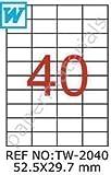 Tanex Sapere Tw-2040 Bar Codice Etichette 52,5 X 29,7 Mm-Eckig-100 A4 Bl.
