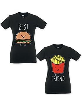 Babloo Coppia di T Shirt Magliette BFF Best Friend Hamburger e Patatine f933c614d520