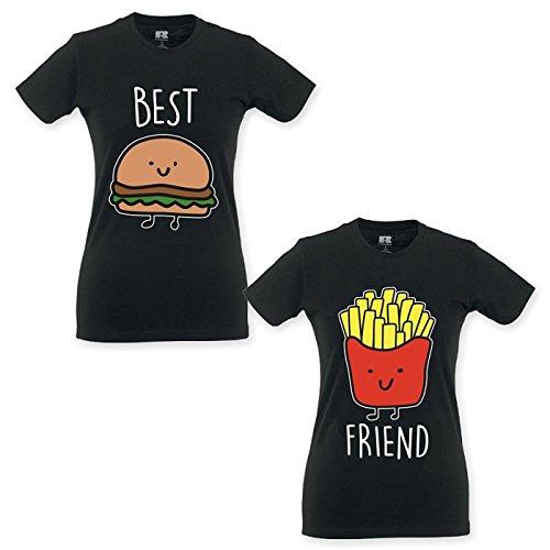Babloo Coppia di T Shirt Magliette BFF Best Friend Hamburger e Patatine Nere