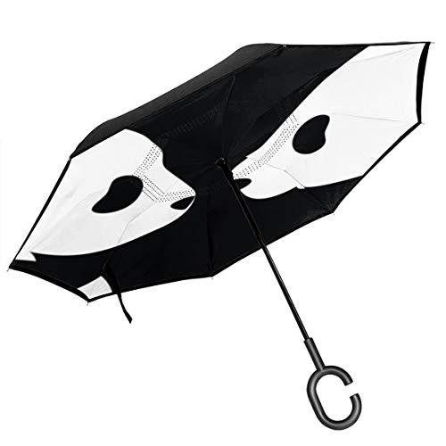 Ombrello reversibile con orsi neri asiatici, grande doppio strato, per esterni, pioggia, sole, auto