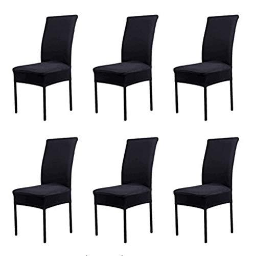 Xinfe coprisedia con schienale, 6 pezzi elasticizzato universale copri sedie soggiorno cucina coprisedie sala da pranzo nero