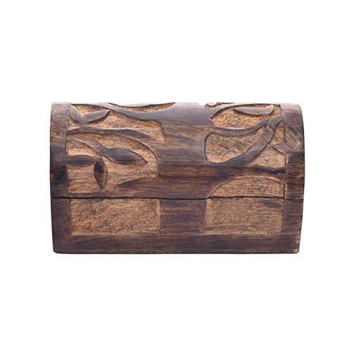Store Indya, Handgemachte Mango Holz Dekorative Schmuckaufbewahrung Trinket Andenken Mehrzweck Box mit Baum des Lebens Gravuren (Small) ()