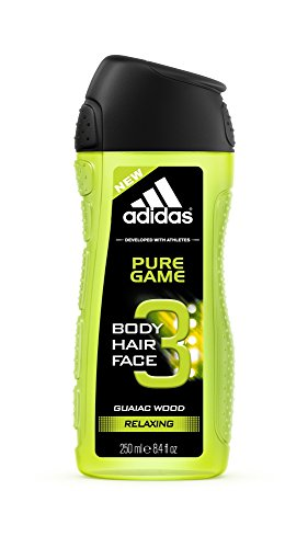 adidas Body Hair Face 3 Pure Game Guaiac Wood Relaxing Hair Shower Gel, 250ml