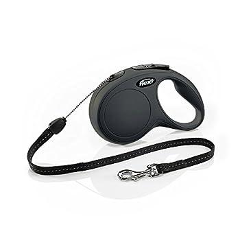 Flexi New Classic Laisse avec Cordon pour Chien Noir 8 m Taille S