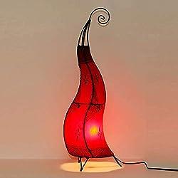 Marrakesch Hissan H80 - Lámpara de pie (piel, pintada a mano), diseño oriental, color rojo