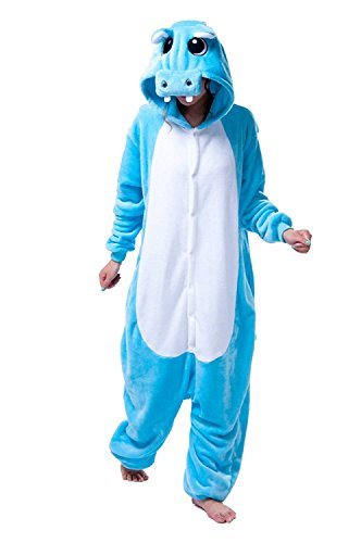 URVIP Unisex Festliche Anzug Flanell Pyjamas Trickfilm Jumpsuit Tier Cartoon Fasching Halloween Kostüm Sleepsuit Party Cosplay Pyjama Schlafanzug Blau Hippo ()