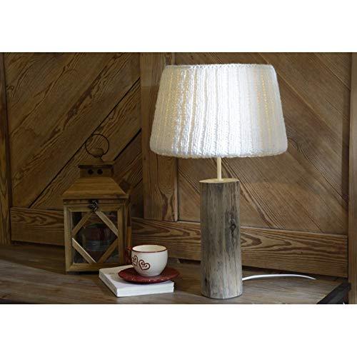 lampe de table montagne en bois et abj laine blanche