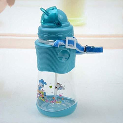ZRDY 450ML Kinder Strohhalm Tasse Mit Sling Kind Flasche Sippy Cups Kinder Lernen Trinkwasser Stroh Trainingsbecher (Color : Blue) -