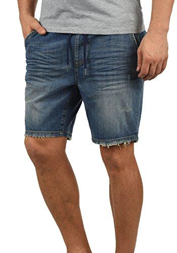 Blend Demo Herren Jeans Shorts Jogger-Denim Kurze Hose Mit Elastischem Bund Und Destroyed-Optik Aus Stretch-Material Regular Fit, Größe:XL, Farbe:Denim Darkblue (76207)
