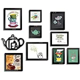 Art Street I Love Tea - Mix Size Set of 9 Photo Frames/Wall Hanging Tea Posters with MDF Tea Pot Plaque