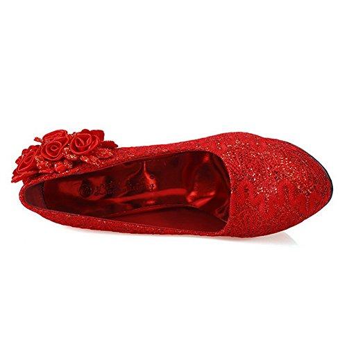 AalarDom Femme Couleur Unie Matériel de Soie Rond à Talon Haut Chaussures Légeres Rouge