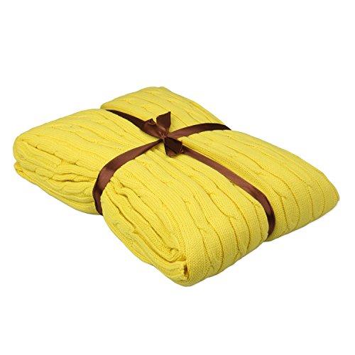 Gestrickte Baumwolle Kuscheldecke, HEHEINC Webpelzdecke Sofadecke Wohndecke Hochwertige Kuscheldecke, weich fließender Luxusqualität Tagesdecke, Decken Gelb