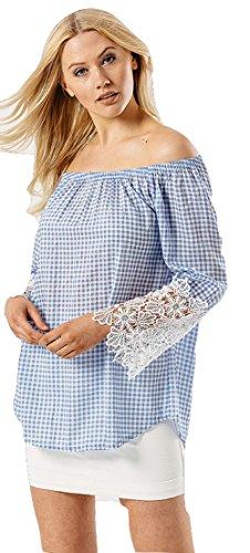 Damen Blue Gingham Check Lace Ärmel Bardot Top EUR Größe 36-42 (M/L (EUR 40-42), Blau) (Top Gingham Lace)