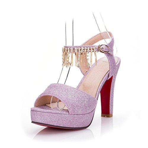 LGK&FA Estate Donna Sandali sandali Donna Scarpe di nozze di diamante tallone grossolana Super tavola di acqua alta Bocca di pesce scarpe di grandi dimensioni 37 argento 41 purple
