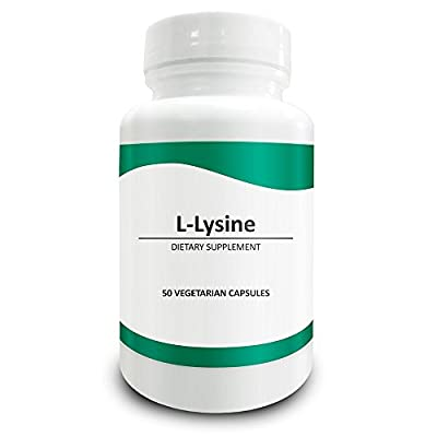 Pure Science L-Lysine Capsules 750mg - Immunity Booster, Promotes Collagen Synthesis for Healthy Bones & Hair, Regulates Mood - 50 Vegetarian Capsules of Lysine Powder