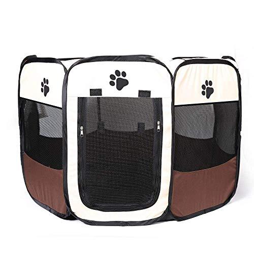 TckTocking Haustier-Zelte, Hundekäfig, für große Hunde und draußen, tragbar, achteckig, Zusammenklappbar, Größe M, Braun