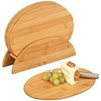Zeller 25266 Supporto per taglieri, ovale, in bambù, 24x7x19,5 cm, 7 pezzi