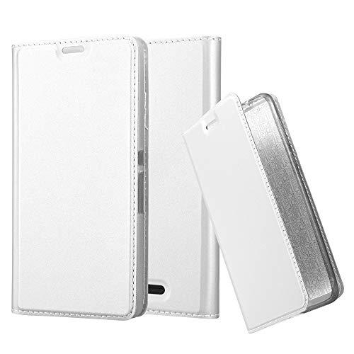 Cadorabo Hülle für Sony Xperia E3 - Hülle in Silber - Handyhülle mit Standfunktion & Kartenfach im Metallic Erscheinungsbild - Case Cover Schutzhülle Etui Tasche Book Klapp Style