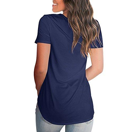 Dasbayla Kurzarm V-Neck T-Shirt Damen Casual Basic Tshirts Lose Sommer Top Unregelmäßig Blau