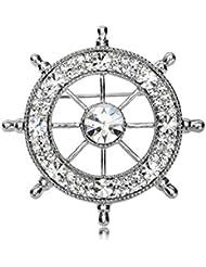KUNQ Regalo Pareja/Regalo Navidad/Los Hombres De Broche Broche Marina Taladro De Geomantic Timón Traje Retro Broche Collar Pin C