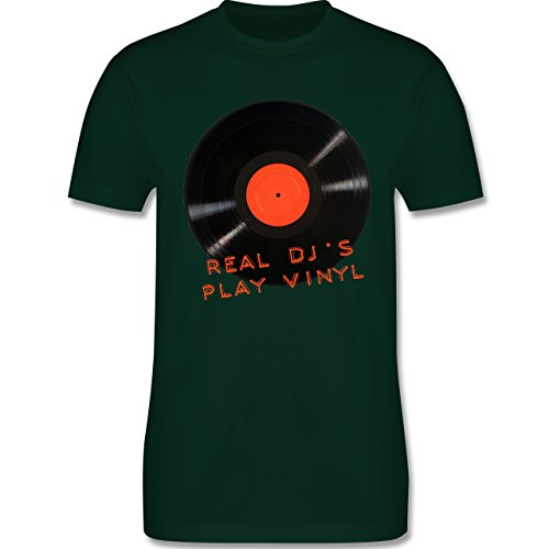 Techno & House - Real DJ's play Vinyl - Herren Premium T-Shirt Dunkelgrün