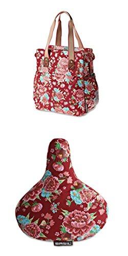 Fahrradtasche Tasche Fahrrad + Sattelbezug Bezug Sattel Flower Hollandrad rot