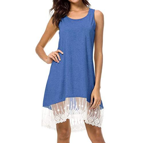 Frauenkleid Beiläufige Sleeveless Normale Flowy Spitze-Schwingen-Weste lösen Kleid-Frauen (Farbe : Blau, Size : S) Flowy Sleeveless