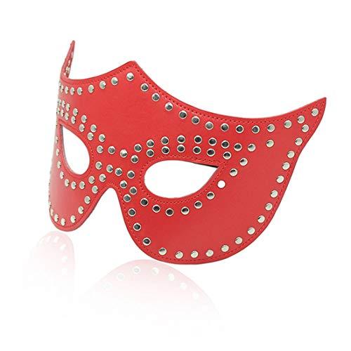 GSAYDNEE Augenmaske Blackout Sexy Augenmasken Nagel Katze Gesicht Requisiten Maske für Erwachsene (Color : Red)