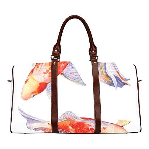 Reisetasche Set Schöne Orange Fisch wasserdichte Weekender Tasche Übernacht Carryon Handtasche Frauen Damen Einkaufstasche Mit Mikrofaser Leder Gepäcktasche (Wasser Betta)