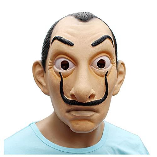 YaPin La Casa De Papel Maske Henri Salvador Dali Gesichtsmaske Mascara De Dali Geldüberfall Latex (Und Henri Halloween)