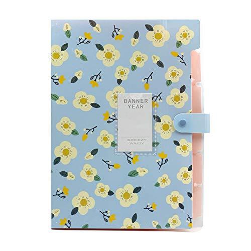 LEEQ 8 Fächer A4 Fächermappe Ordner Dokument Tasche Pocket Papier Organizer mit Druckknopfverschluss blau(blau ) (Receipts Datei-ordner)